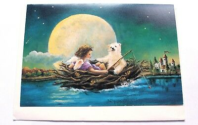 Angel and White Bear in a Row Boat very cute Greeting Card with Envelope NEW