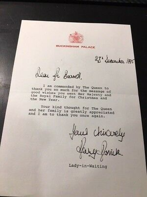 Letter from Buckingham Palace signed by lady in waiting 1995