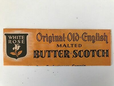 WHITE ROSE MALTED BUTTER SCOTCH - wrapper - 1940's - lollies/ sweets shop