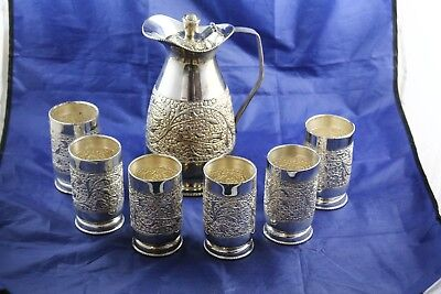 Handmade Solid Silver Pitcher & 6 Cups Almost 1500 Grams -