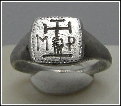 Ancient Silver Byzantine Ring ** HAND holding CROSS **MP**