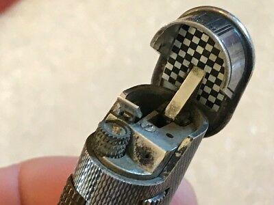 Vtg Alfred Dunhill Lighter Engine Turned Silver B60 SWISS.