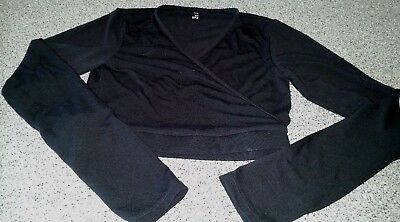 Girls Bloch Dance wear Crossover Shrug Sweater Top Black Dance Size 12-14