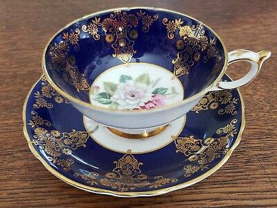 Paragon Gold & Cobalt Blue Cup and Saucer w/ Floral Pattern
