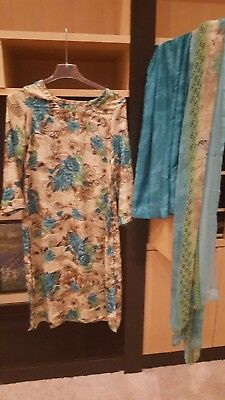 New Indian Pakistani Printed suit blue