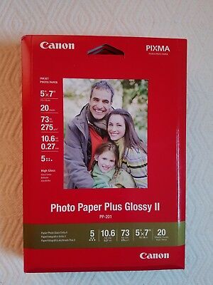 "Canon Photo Paper Plus Glossy II PP-201 5x7"" or 13x18 cm- 80 Sheets 4 Pack"