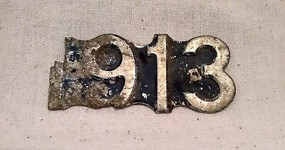 Rare Antique 1913 Wisconsin License PlateRiveted Aluminum Year Tag Number