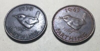 Combo Lot of 2 - Great Britain (UK) 1939 & 1943 Farthing Coins - King George VI