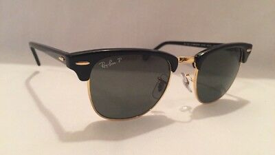 Ray Ban Classic Clubmaster Sunglasses RB3016 Black Frame 49mm Polarized Lenses