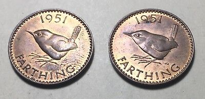 Combo Lot of 2 - Great Britain (UK) 1951 Farthing Coins - King George VI