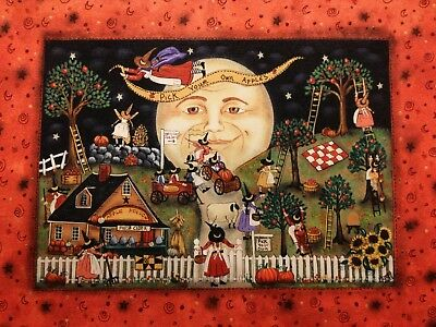 15 New England Prim Folk Art Witches at Village Scene Fine Print,  Apple Picking