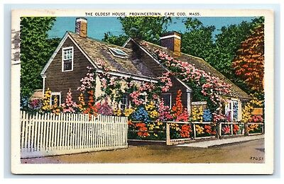 Postcard The Oldest House, Provincetown, Cape Cod, MA linen posted 1937 D9