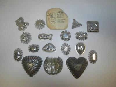 Vintage Collection Of Small Tin Chocolate Molds, Butterfly, Fish, Horse, Hearts