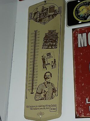 Vintage advertising thermometer metal farm sign tractor barn toro