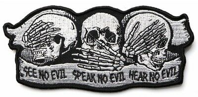 SKULLS - SEE NO EVIL, SPEAK NO EVIL, HEAR NO EVIL - IRON or SEW ON PATCH