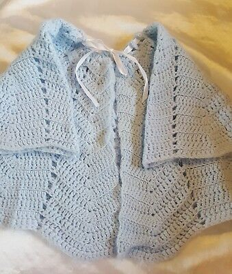 Vintage  Infant Baby Pale Blue Hand Knit Crocheted Sweater