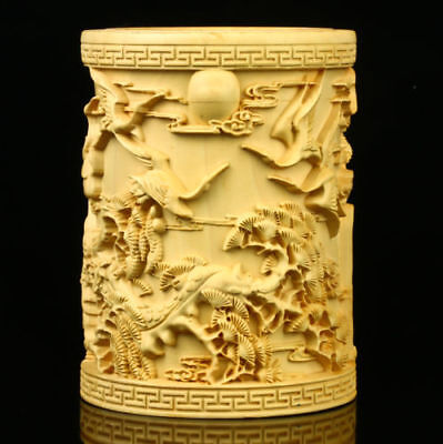 Chinese Boxwood Hand Carved Pine & Crane Brush Pot 004