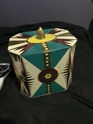 Cute Vintage Tin. Gold. Maroon Turquoise.