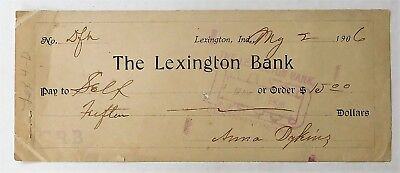 Antique 1906 Bank Check - Lexington Bank  Lexington,ind.