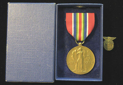 Rare World War II Merchant Marine Victory Medal - With Original Box & Xtra Pin!