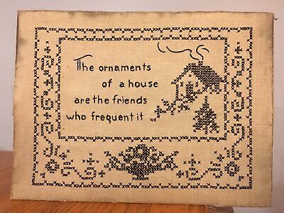 Vtg Antique Black Stitch Handmade Embroidery Sampler FRIENDS at your HOME