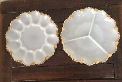 2 VINTAGE Deviled Egg Plate - Anchor Hocking Divide Dish Milk Glass VGC