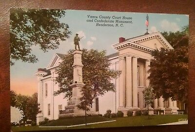 1952 Postcard Vance County Court House & Confederate Monument, Henderson, NC