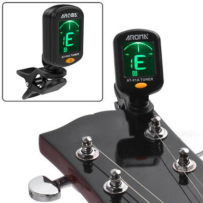 Digital Chromatic LCD Clip-On Electric Tuner F Bass Guitar Ukulele Violin Viola