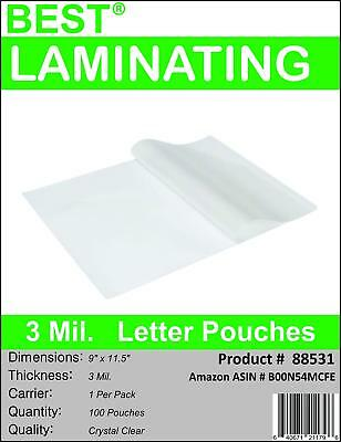 Best Laminating - 3 Mil Clear Letter Size Thermal Laminating Pouches - 9 X 11.5