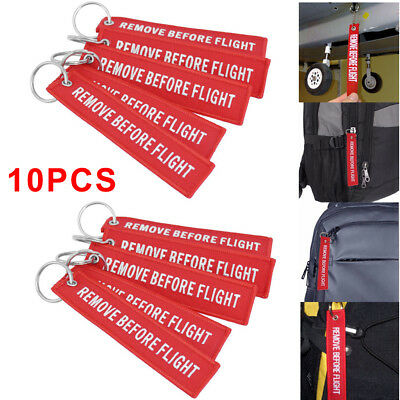 10x White/Red Remove Before Flight Keychain Aviation Tags Rings Luggage Keyring