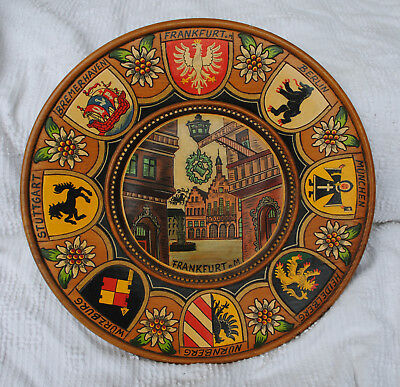 VNTG WOODEN CARVED PLATE FRANKFURT GERMANY  CENTER STREET SCENE w/ COATS OF ARMS