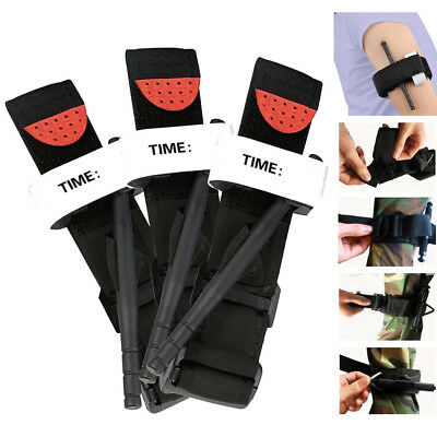 3pcs Tourniquet Rapid One Hand Application Emergency Outdoor First Aid Kit Black