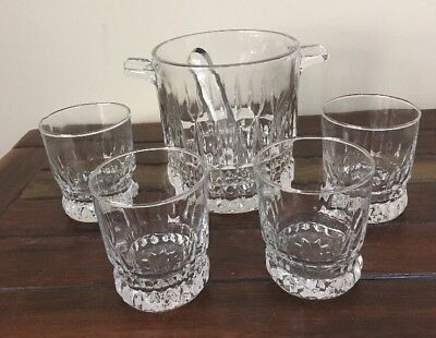 GLASS ICE BUCKET & 4 Whisky Glasses & Tongs Made In France Excellent Condition