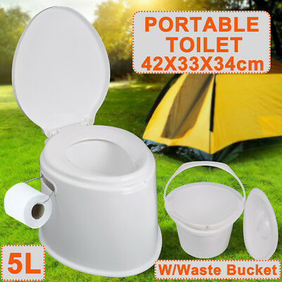 5L Portable Toilet Compact Potty Loo Picnic Camping Caravan Travel Seated Toilet