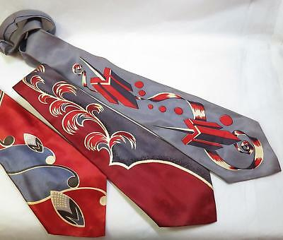 Lot of 3 Vintage 40s Deco Rayon Swing Tie Neckties - Artway etc
