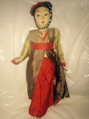 Rare! Antique Vtg Handmade Japanese Geisha Silk Dress Asian DOLL w real hair
