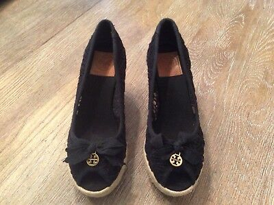 Tory Burch Shoes Jackie Black Lace Espadrilles Wedge Peep Toe Sz 7