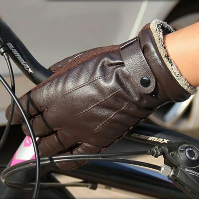 Men Winter Warm Leather Gloves Full Finger Motorcycle Cycling Run Touch Screen