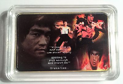 """BRUCE LEE""  Martial Arts Colour Printed 999 24k Gold Plated Ingot/token #23"