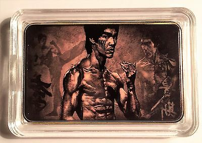 """BRUCE LEE""  Martial Arts Colour Printed 999 24k Gold Plated Ingot/token #24"