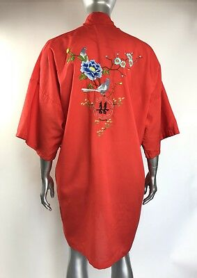 Vintage Health Embroidered Kimono Robe Shanghai China Short Button Up Red XL