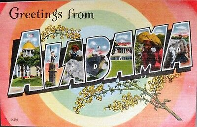 Linen postcard Greetings From ALABAMA