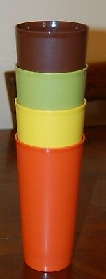 Vintage Tupperware Tumblers (4) 18 oz Harvest Colors