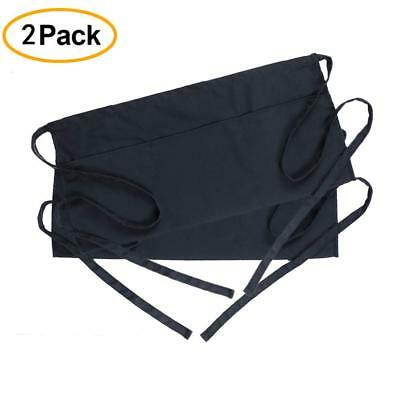 Waist Apron 2 Pack with 3 Pockets-Black Waitress Waiter Server Half Short Aprons