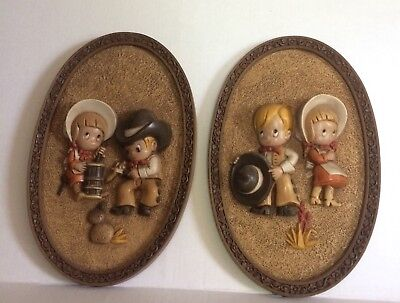 Vintage Young Cowboy Cowgirl Wall Hangings Set of 2 D Boy Girl Western Kids