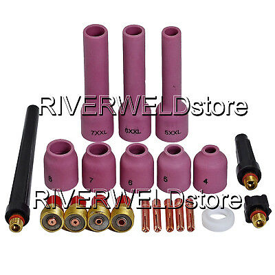 TIG Kit Gas Lens Collet Body Assorted Size Fit TIG Welding Torch WP 9 20 25 21pk