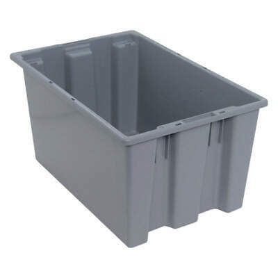 QUANTUM STORAGE SYSTEMS Nest and Stack Container,23-1/2 in,Gray, SNT240GY, Gray