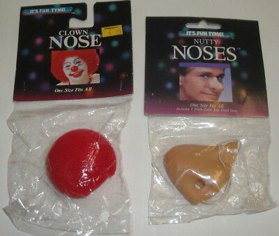 VINTAGE NUTTY NOSES - Clown & Long Flesh Nose It's Fun Tyme World 1980s Costume