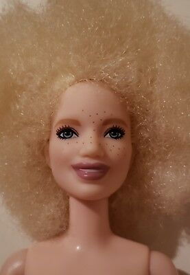 2018 Barbie NUDE Fashionistas PETITE Albino Doll #91 w Blonde Afro & Freckles