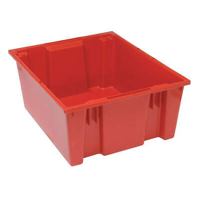 QUANTUM STORAGE SYSTEMS Nest and Stack Container,23-1/2 in L,Red, SNT225RD, Red